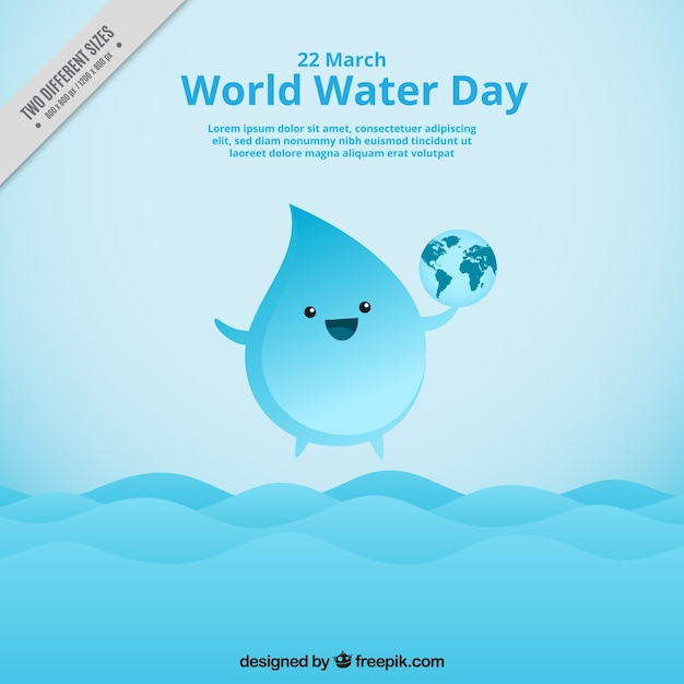 Nice water drop background with the world Free Vector