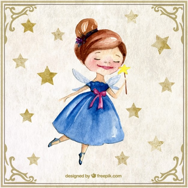 Nice watercolor fairy with stars Free Vector