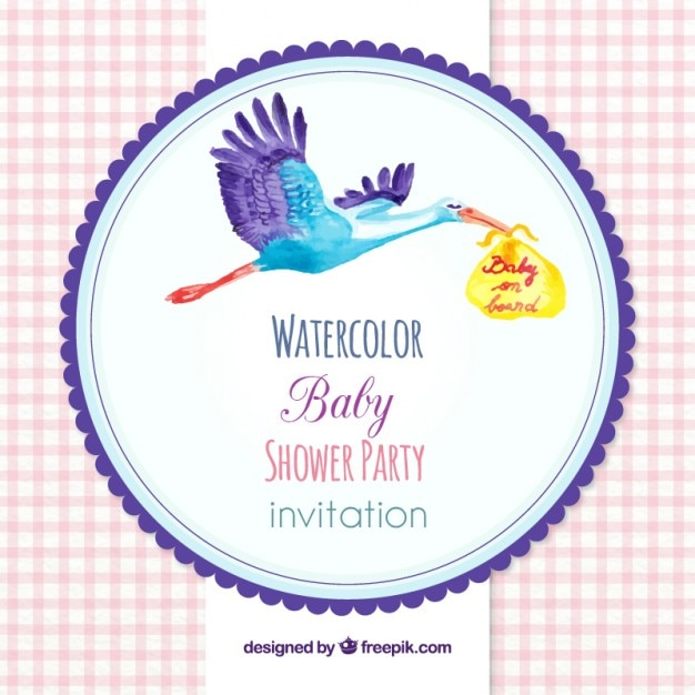 Nice Watercolor Stork Baby Shower Invitation Stock Images Page