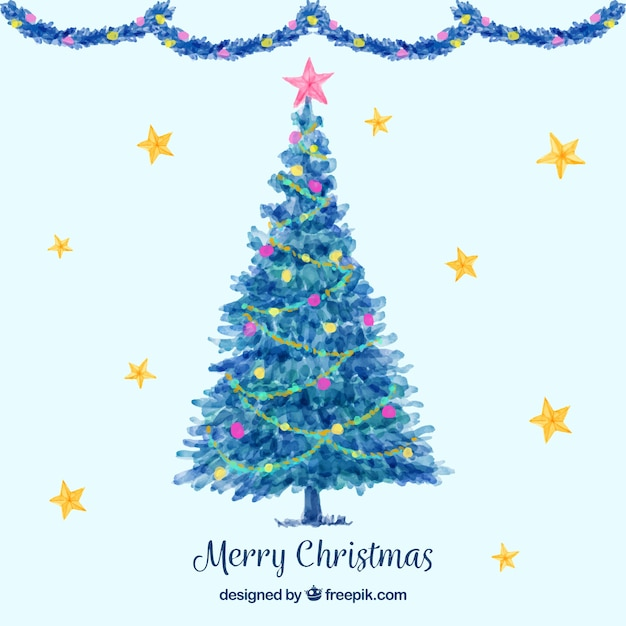 Nice watercolour background with a blue christmas tree