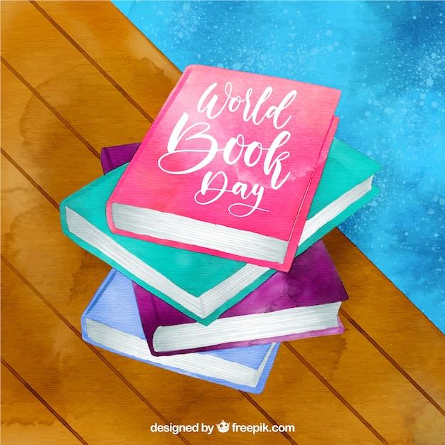 Bello sfondo acquerello per la giornata mondiale del libro Vettore gratuito