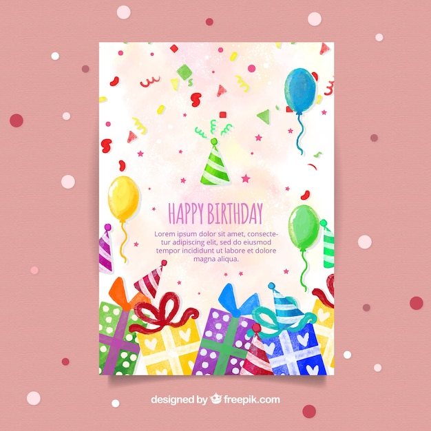 Nice watercolour birthday card Free Vector