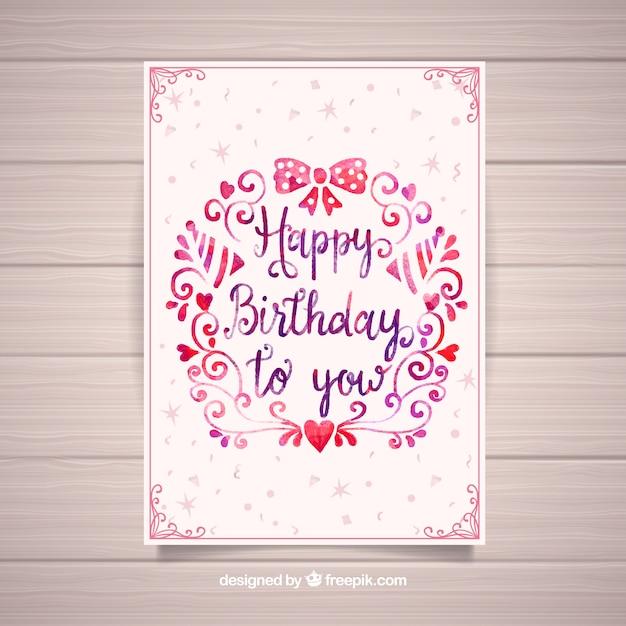 Nice watercolour birthday card Free Vector