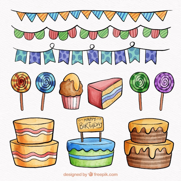 Nice watercolour collection of birthday elements Free Vector