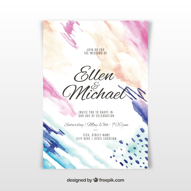 Nice watercolour wedding invitation Free Vector