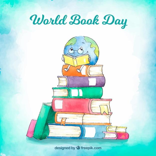 Priorità bassa di giorno del libro del mondo dell'acquerello bello Vettore gratuito