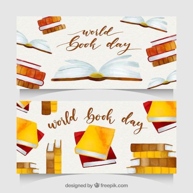 Bandiere di giorno del libro del mondo dell'acquerello nizza Vettore gratuito