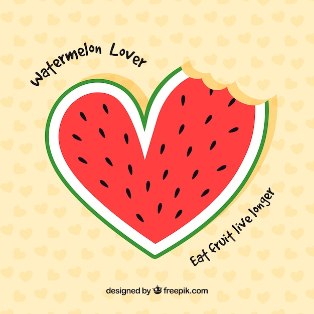 Nice watermelon background with heart shape Free Vector