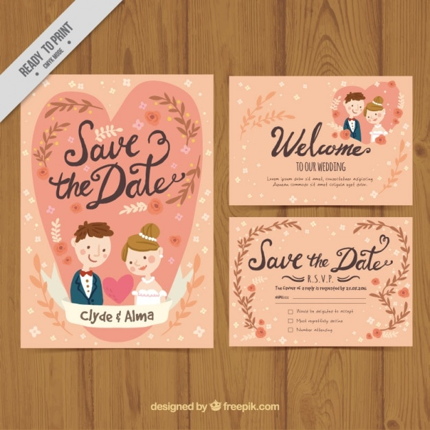 Nice Wedding Card With Bride And Groom In Vintage Style Free Vector