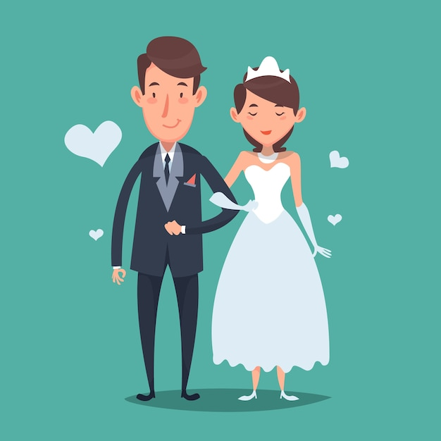 Nice wedding couple in cartoon style Vector | Free Download