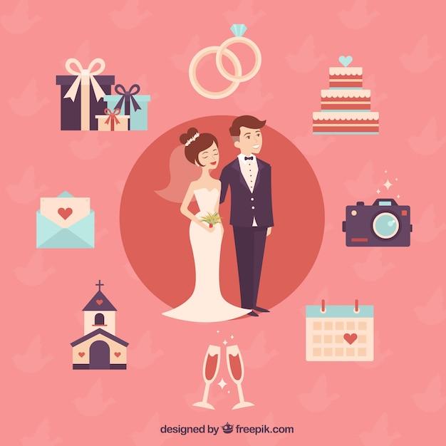 زن و شوهر عروسی زیبا با عناصر زیبا