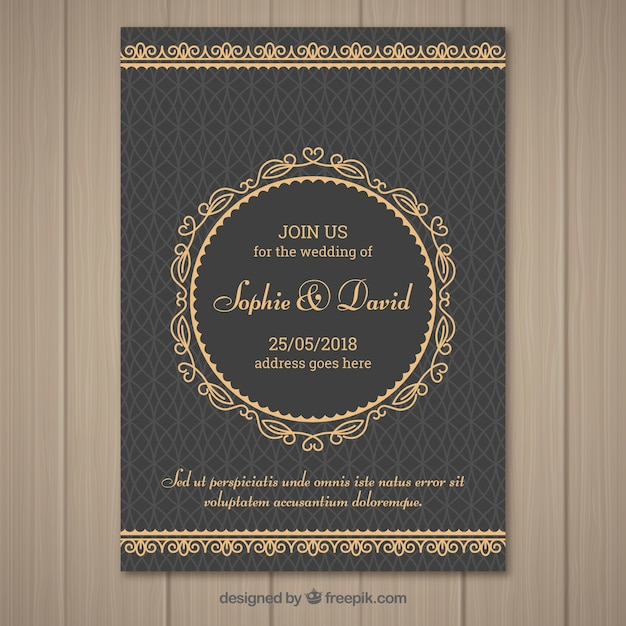 Nice wedding invitation in vintage style Free Vector