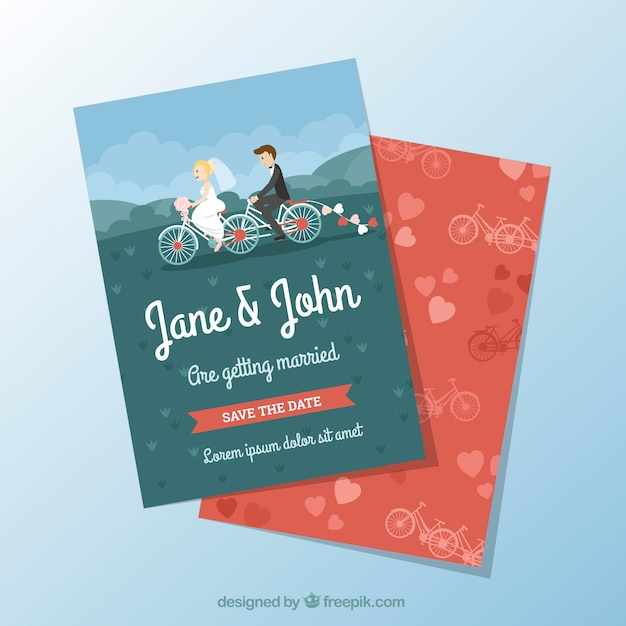 Nice Wedding Invitation With Couple On Bicycle Free Vector