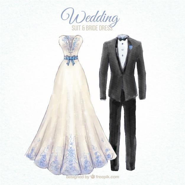 Nice wedding suit and bride dress desing Vector | Premium Download