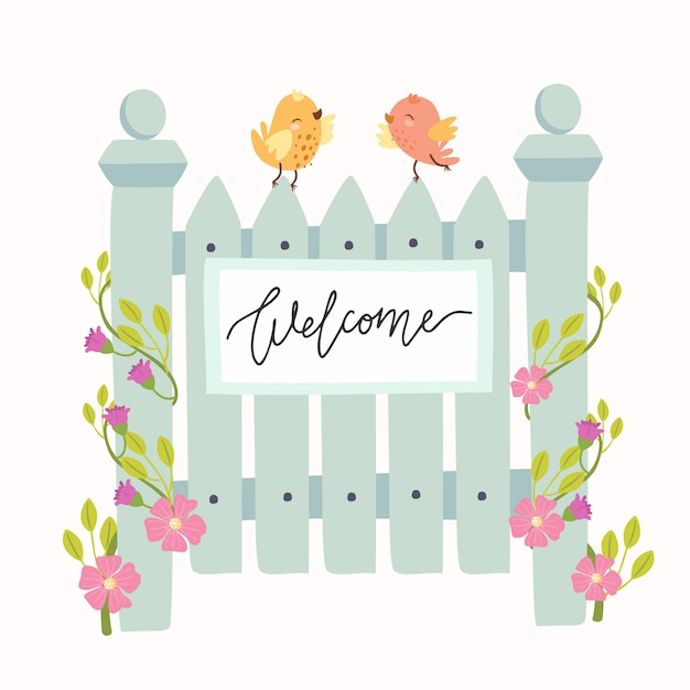 Nice wicket with birds and flowers, welcome Free Vector