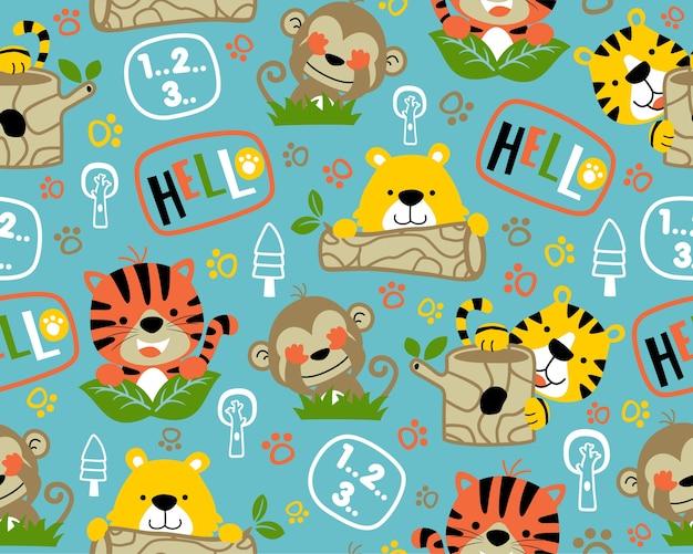 シームレスなパターンベクトル上のニース野生動物の漫画 Premiumベクター