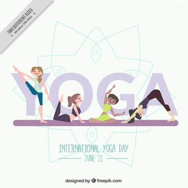 Nice yoga background with girls doing\ poses