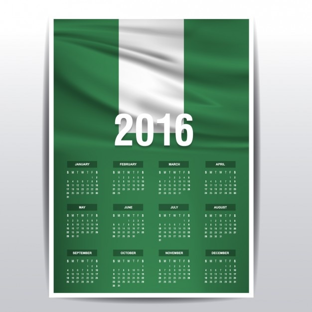 Calendar Nigeria : Nigeria calendar of vector free download