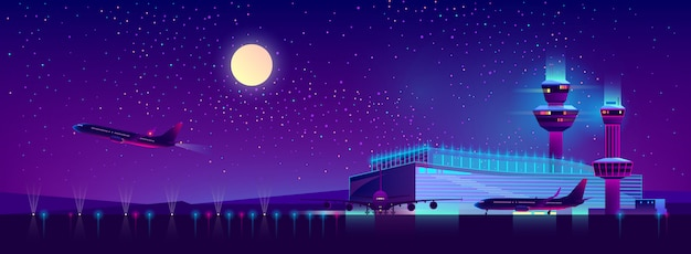 Night airport in ultraviolet colors, background Free Vector