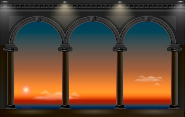 Night arch of the palace Premium Vector