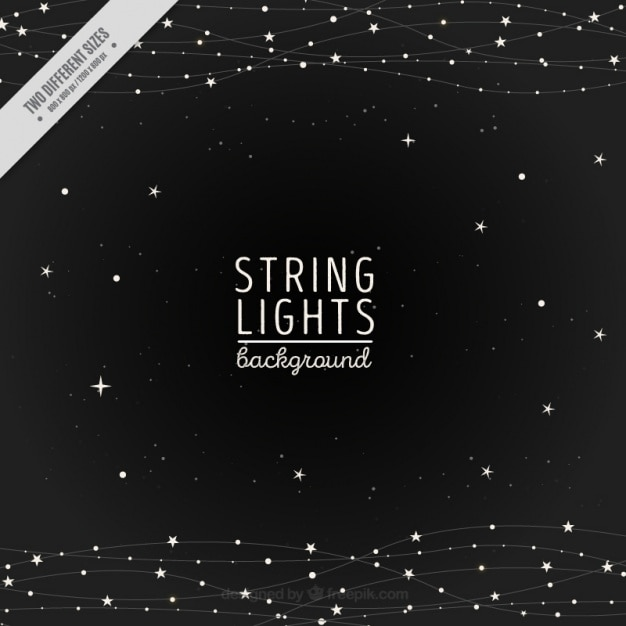 Night background of string lights and stars Vector Free Download