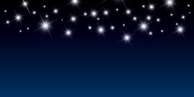 밝은 별 벡터 일러스트와 함께 밤 배경 무료 벡터