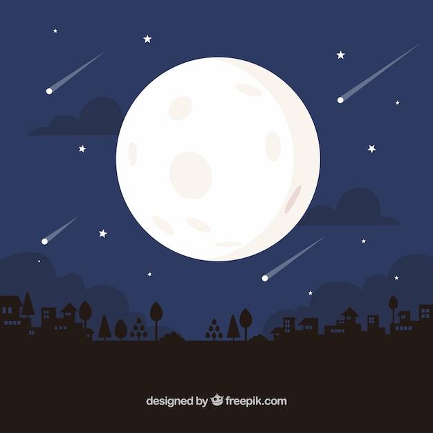 Ночной фон с луной и дождем метеоритов Premium векторы