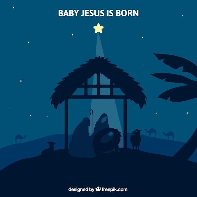 Night background with star illuminating the nativity scene  Free Vector