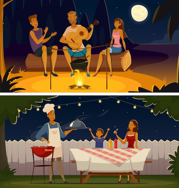 Night barbecue party cartoon retro banners Free Vector