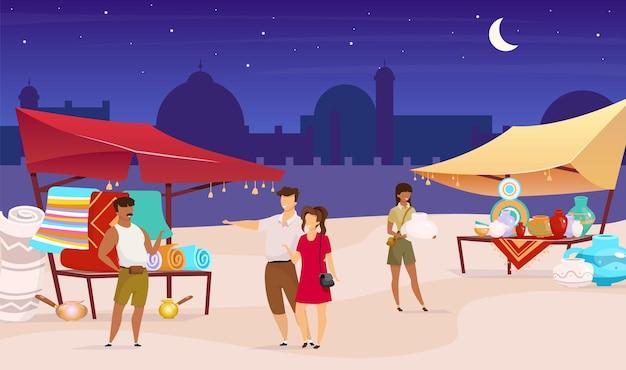 Ночной базар плоская цветная иллюстрация Premium векторы