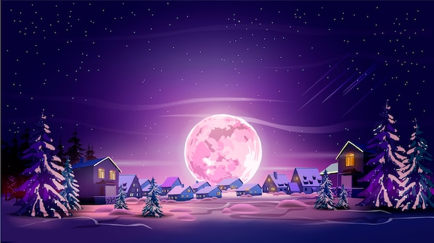겨울 도시, 나무, 산 및 달 밤 아름 다운 풍경. 보라색 달, 눈, 보라색 하늘로 빛납니다. 당신의 예술을위한 조경 배경 프리미엄 벡터