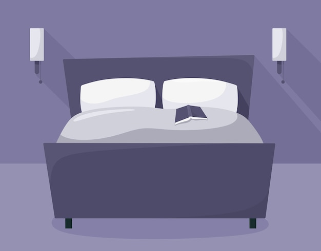 Ночная спальня с мебелью. кровать с книгой. . Premium векторы