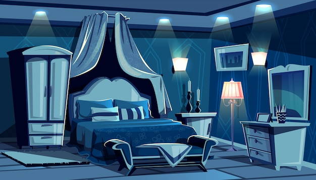Night bedroom with lamps light illumination illustration. vintage or modern comfortable cozy Free Vector