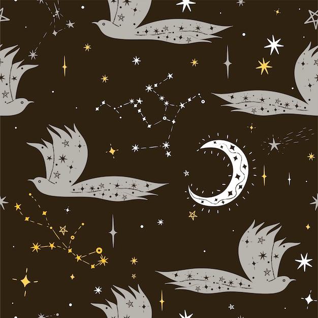 星と夜の鳥のシームレスなパターン。ベクトルグラフィックス Premiumベクター