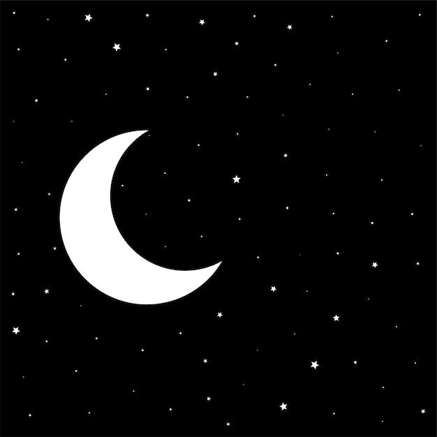月と星と夜の黒い空 無料ベクター