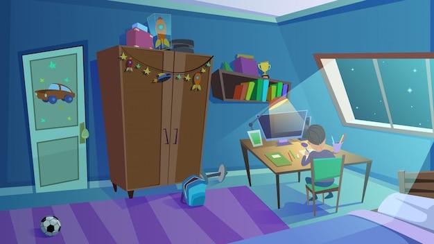 Night boys bedroom interior with window, furniture Premium Vector