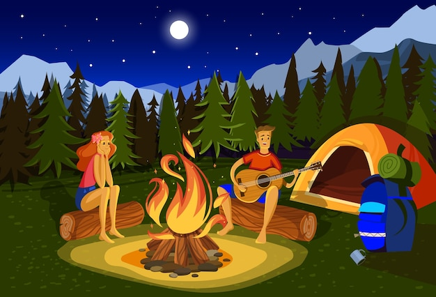 Night camping vector illustration. cartoon flat happy couple campers people sitting at campfire together, singing song, playing guitar in forest mountain nature landscape Premium Vector