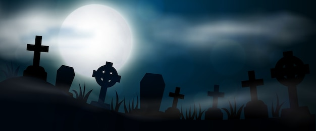 夜の墓地、十字架、墓石、墓の水平バナー。カラフルな怖いハロウィーンのイラスト。 Premiumベクター