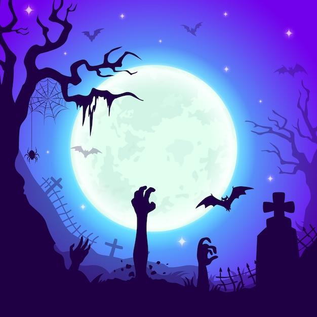 ゾンビの手を持つ夜の墓地、十字の墓、怖い木、蜘蛛の巣、星空の巨大な満月の下でコウモリと墓地のハロウィーンの背景。漫画のハロウィーンの不気味な風景 Premiumベクター