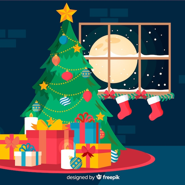 Night christmas tree christmas background Free Vector