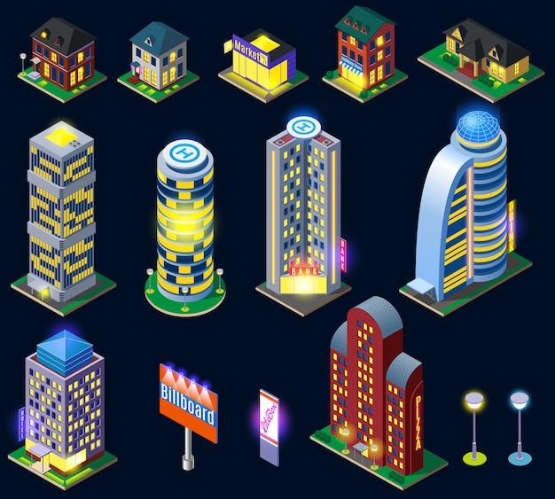 夜の街の建物コレクション 無料ベクター