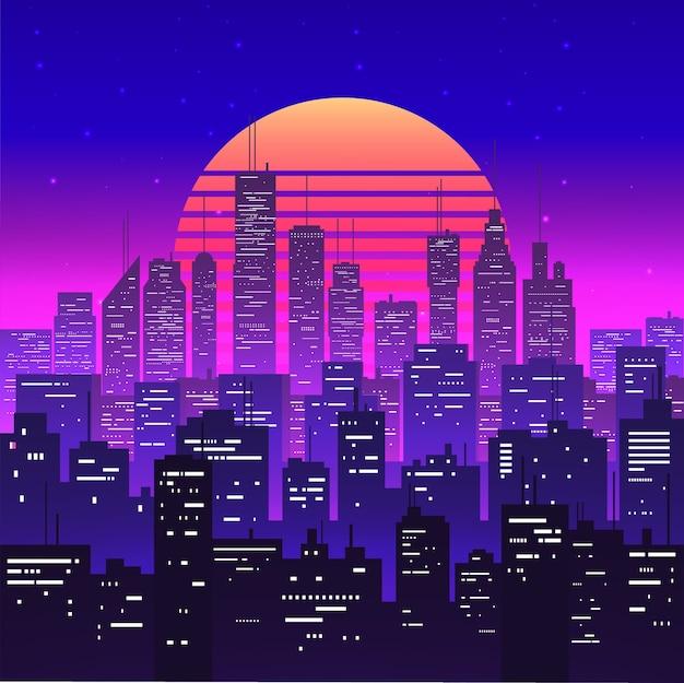 Ночной городской пейзаж на фиолетовом неоновом ретровейвне или эстетическом закате паровой волны. силуэты небоскребов. городской пейзаж в сумерках. винтажный стиль. Premium векторы