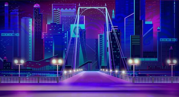 Night city neon lights, bridge entry, quay, lamps Free Vector