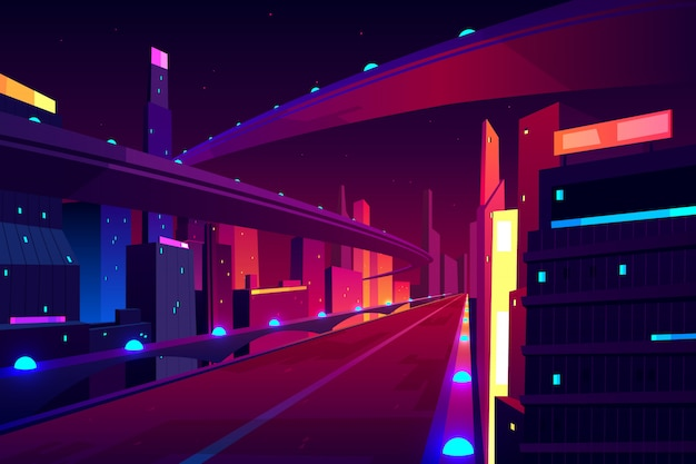 Night city road, empty streetscape freeway, speed two-lane highway, overpass or bridge in metropolis. Free Vector