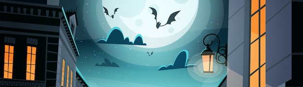 Night city with bats in sky happy halloween party celebration concept Premium Vector