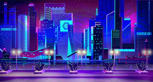 Night city with neon lights and quay with plants Free Vector