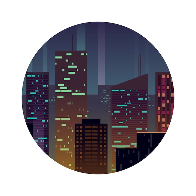 Night city with shining buildings Premium Vector