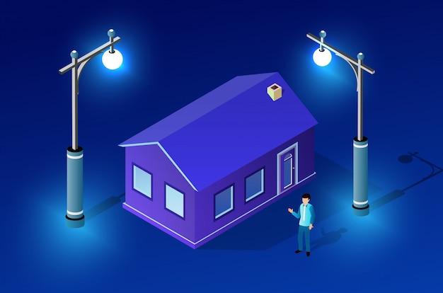 Night cityscape ultraviolet architecture Premium Vector