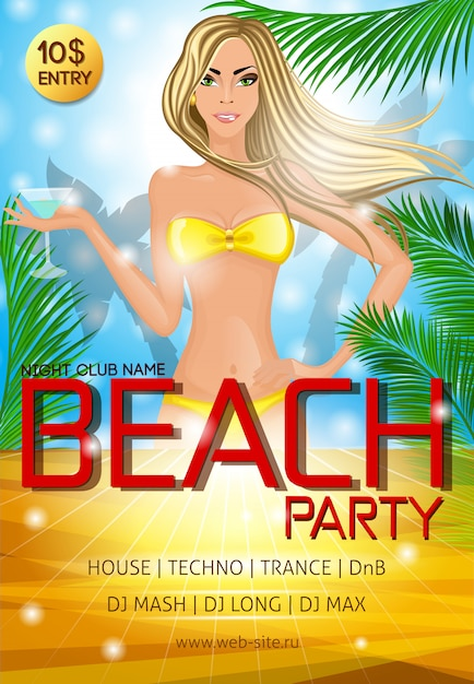 Night club beach party poster template Free Vector