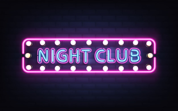 Night club, disco bar or pub glowing bright neon light, retro signboard on brick wall 3d realistic vector with blue letters, white bulb lamps and violet, pink fluorescent illumination Free Vector